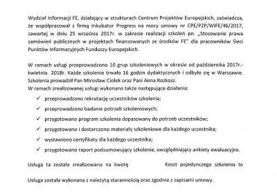 Referencje CPE Sieć Punktów Informacyjnych FE